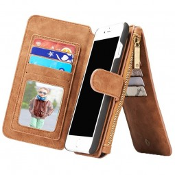 Etui iPhone 8 Plus/7 Plus Porte-cartes et Porte-monnaie Marron - CaseMe