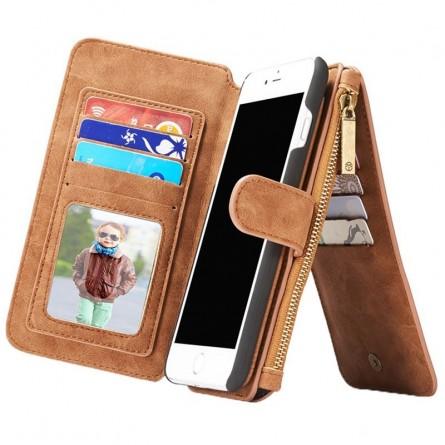 Etui iPhone 8 Plus/7 Plus Porte-cartes et Porte-monnaie Marron - CaseMe
