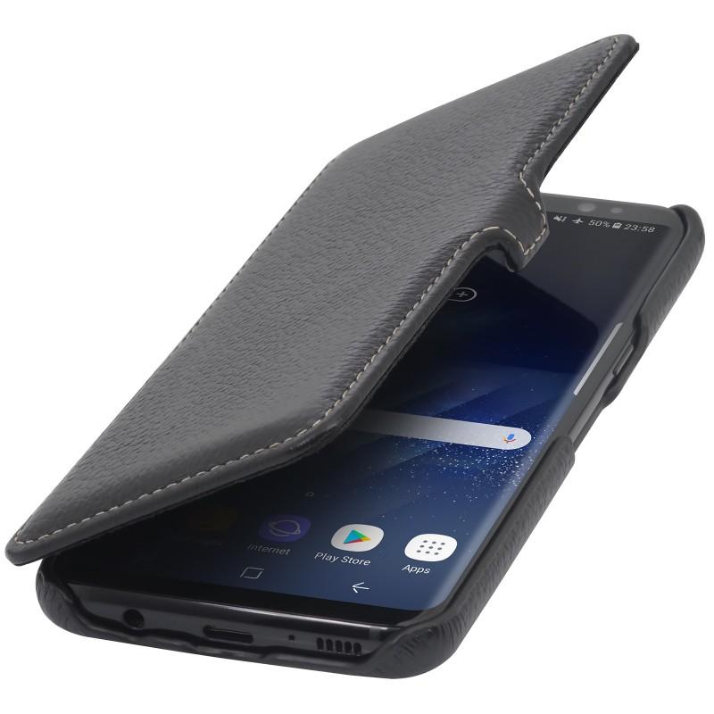 Etui Galaxy S8 Book Type avec clip en cuir véritable noir - StilGut