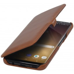Etui Galaxy S8 Book Type avec clip en cuir véritable cognac - StilGut