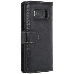 Etui Galaxy S8 portefeuille Talis en cuir véritable grainé Noir - StilGut