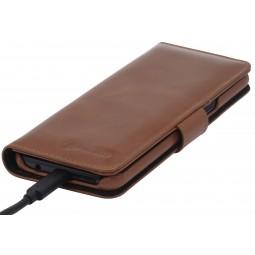 Etui Galaxy S8 portefeuille Talis en cuir véritable cognac - StilGut