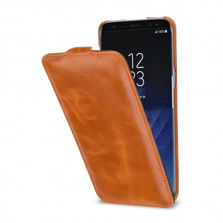 Etui Galaxy S8 Plus UltraSlim en cuir véritable cognac - StilGut