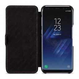 Etui Galaxy S8 Plus Book Type avec clip en cuir véritable noir - StilGut