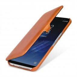 Etui Galaxy S8 Plus Book Type avec clip en cuir véritable cognac - StilGut