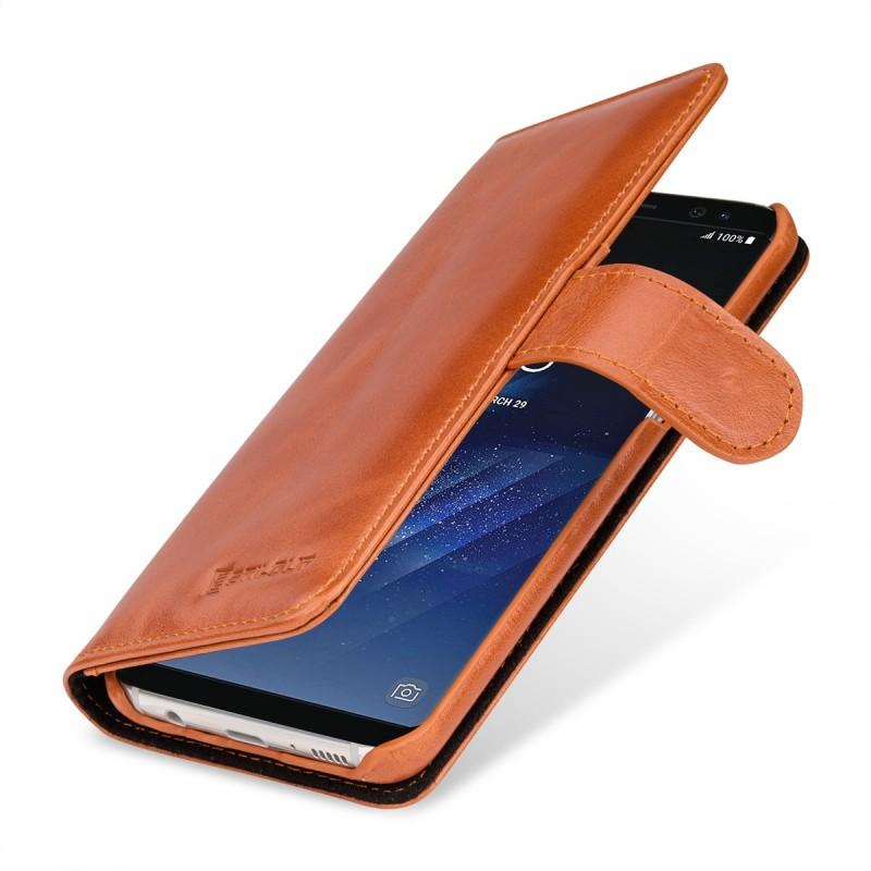 Etui Galaxy S8 Plus portefeuille Talis en cuir véritable cognac - StilGut