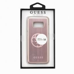 Coque Galaxy S8 Plastique rigide et Aluminium brossé Rose - Guess