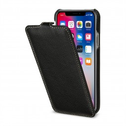 Etui iPhone X ultraslim en cuir véritable noir - StilGut