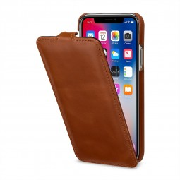 Etui iPhone Xs / X ultraslim en cuir véritable cognac - StilGut