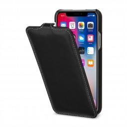 Etui iPhone X ultraslim en cuir véritable noir Nappa- StilGut