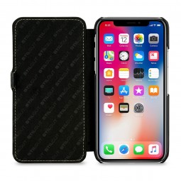 Etui iPhone X Book Type en cuir véritable noir – StilGut