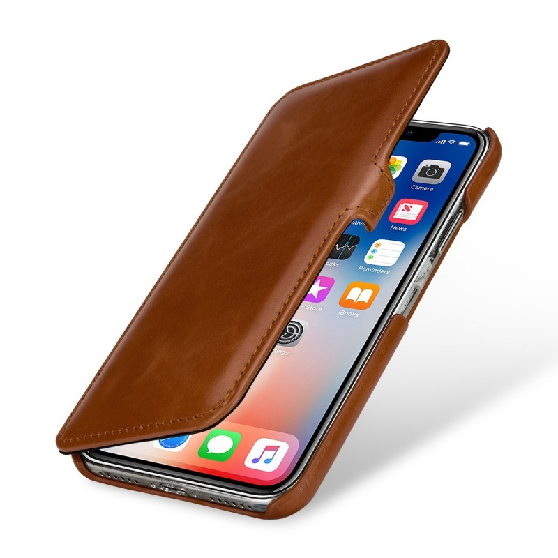 Etui iPhone X Book Type en cuir véritable cognac – StilGut