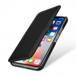 Etui iPhone X Book Type en cuir véritable noir Nappa – StilGut