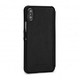 Etui iPhone X Book Type en cuir véritable noir Nappa – StilGut