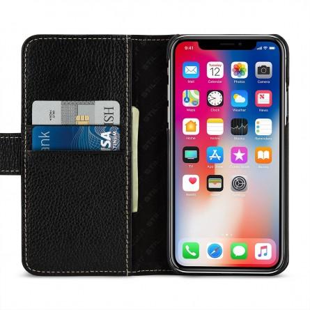 Etui iPhone X portefeuille Talis en cuir véritable Noir - StilGut