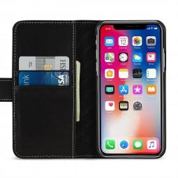 Etui iPhone Xs / X portefeuille Talis en cuir véritable Noir Nappa - StilGut