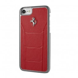Coque iPhone 8 / 7 cuir rouge - Ferrari