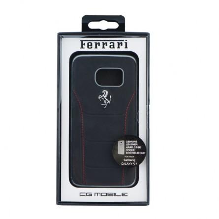 Coque Galaxy S7 cuir noir - Ferrari