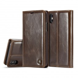 Etui iPhone X Portefeuille Marron - CaseMe