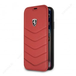 Etui iPhone X Porte-cartes en cuir véritable Rouge - Ferrari