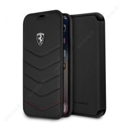 Etui iPhone X Porte-cartes en cuir véritable Noir - Ferrari