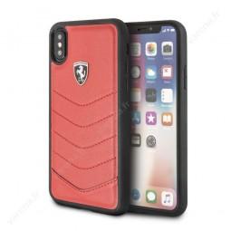 Coque iPhone X cuir rouge - Ferrari