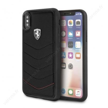 Coque iPhone X cuir noir - Ferrari