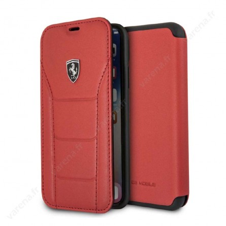 Etui iPhone X Rouge en cuir véritable - Ferrari