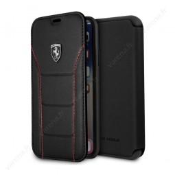 Etui iPhone X Noir en cuir véritable - Ferrari