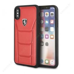 Coque iPhone X rouge en cuir véritable - Ferrari