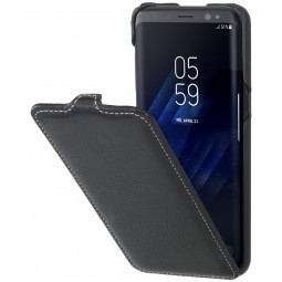 Etui Galaxy S8 UltraSlim en cuir véritable grainé noir - StilGut
