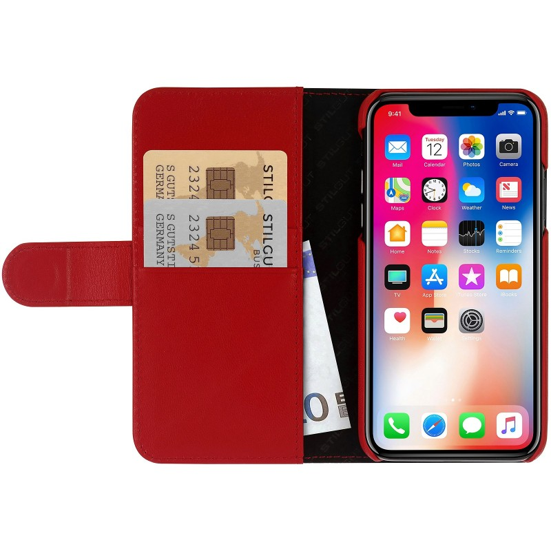 Etui iPhone X portefeuille Talis en cuir véritable Rouge Nappa - StilGut