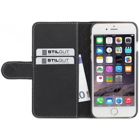 Etui iPhone 6 / 6S portefeuille Talis en cuir véritable Noir Nappa - StilGut