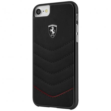 Coque iPhone 8 / 7 / 6 en cuir véritable noir - Ferrari