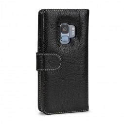 Etui Galaxy S9 portefeuille Talis en cuir véritable grainé Noir - StilGut