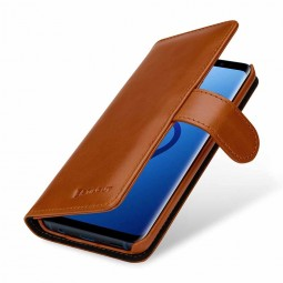 Etui Galaxy S9 portefeuille Talis en cuir véritable Cognac - StilGut