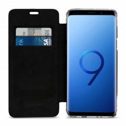 Etui Galaxy S9 anti RFID / NFC en cuir véritable noir - StilGut