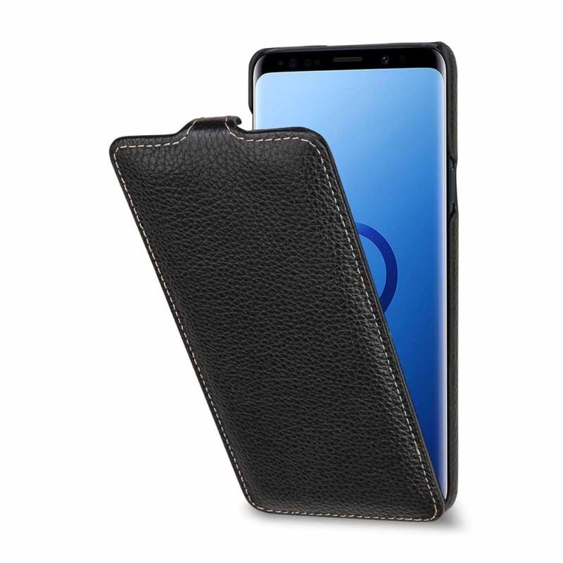 Etui Galaxy S9+ UltraSlim en cuir véritable noir - StilGut