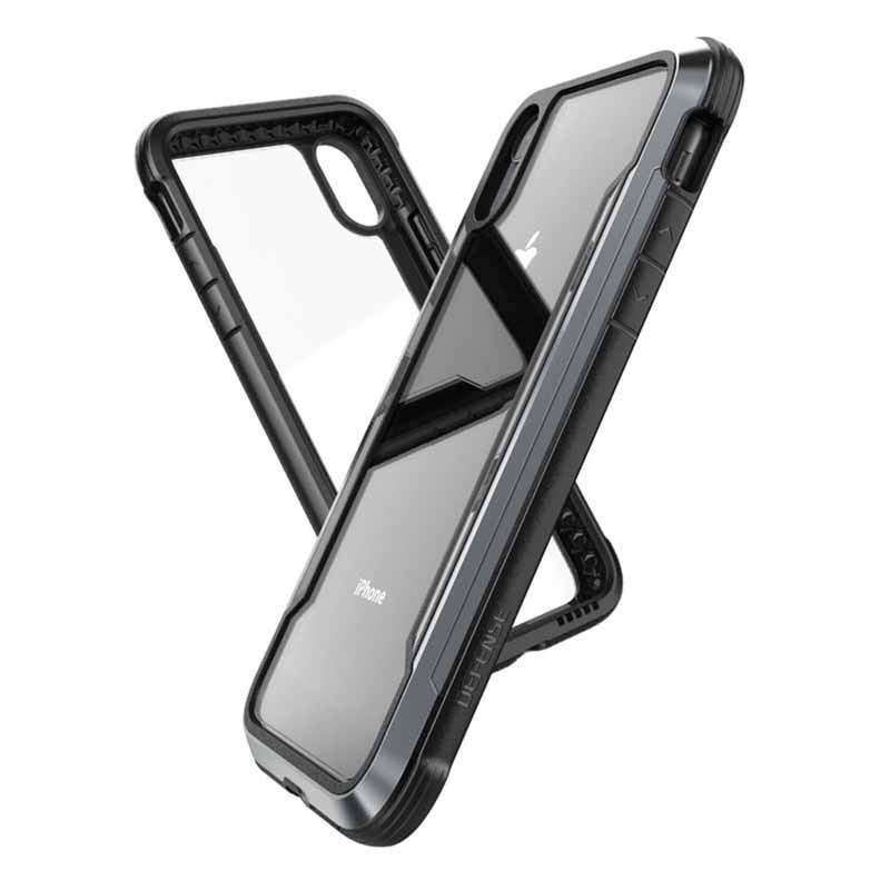 Coque iPhone Xr Transparente et Noire Defense Shield - Xdoria