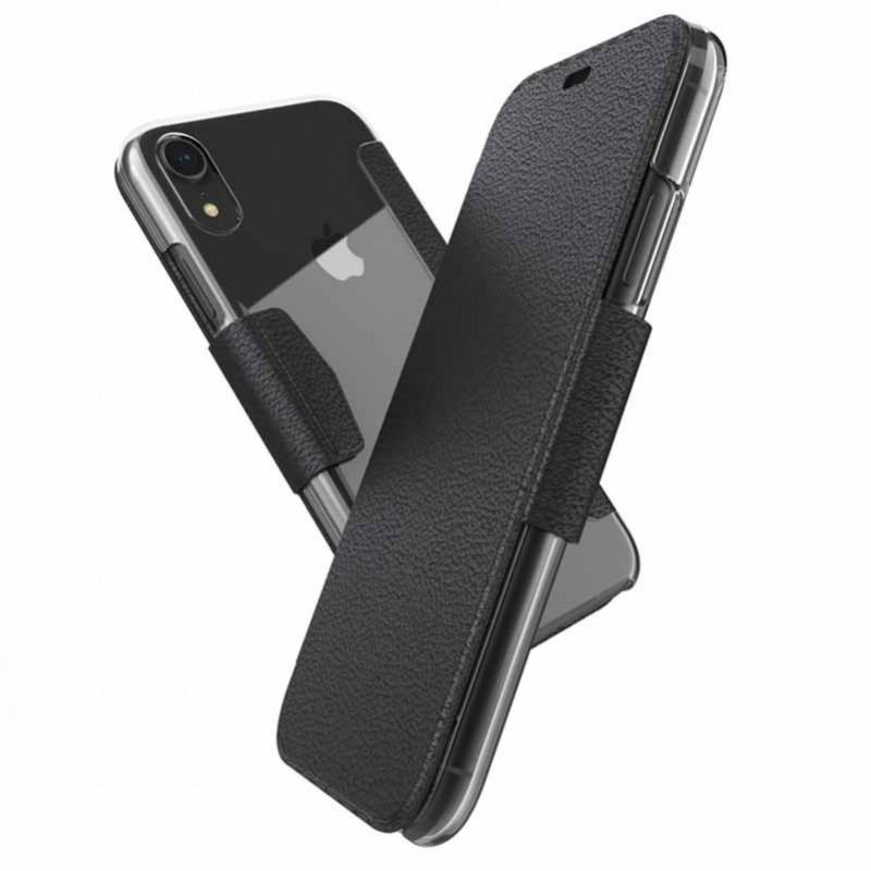 Etui iPhone Xr Folio noir coque transparente  - Xdoria