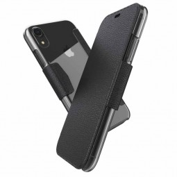 Etui iPhone Xr Folio noir coque transparente  - Xdoria