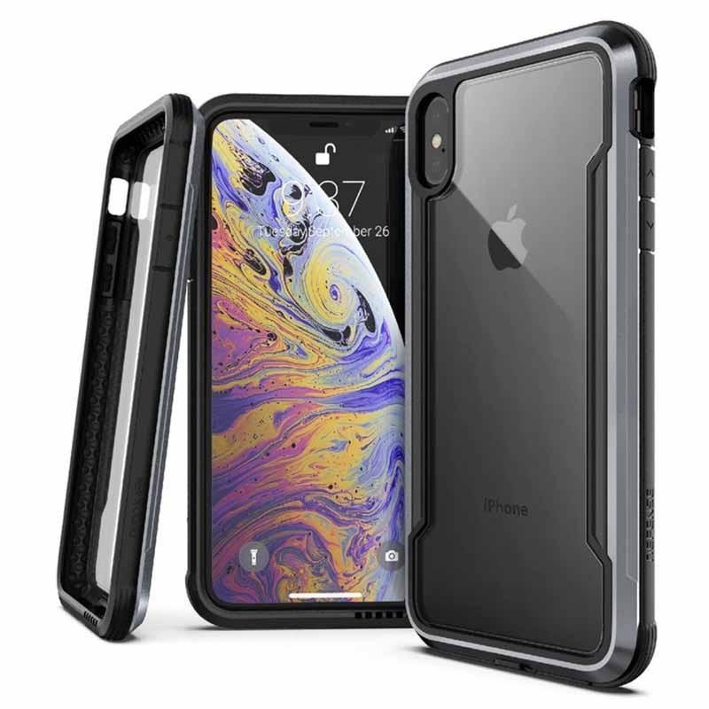 Coque iPhone Xs Max Transparente et Noire Defense Shield - Xdoria