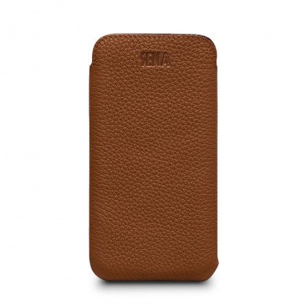 Housse iPhone Xs en cuir véritable ultraslim marron - Sena Cases