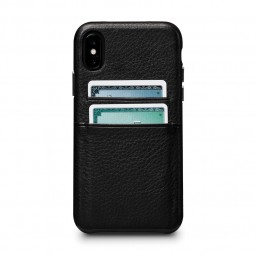 Coque iPhone Xs / X en cuir véritable porte-cartes noir - Sena Cases