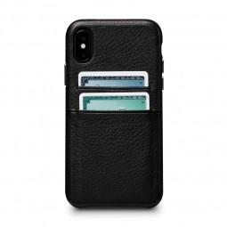 Coque iPhone X en cuir véritable porte-cartes noir - Sena Cases