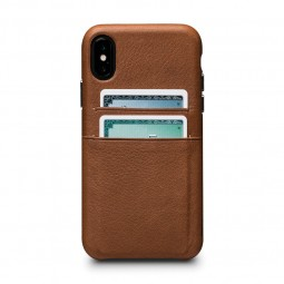 Coque iPhone Xs / X en cuir véritable porte-cartes marron - Sena Cases