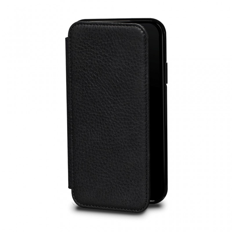 Etui iPhone Xs / iPhone X en cuir véritable porte-cartes noir - Sena Cases