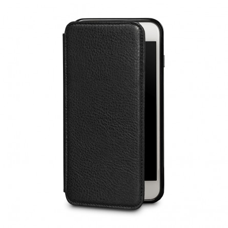 Etui iPhone 8 Plus / iPhone 7 Plus en cuir véritable porte-cartes noir - Sena Cases