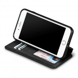 Etui iPhone 8 Plus / iPhone 7 Plus en cuir véritable porte-cartes noir - Sena Cases