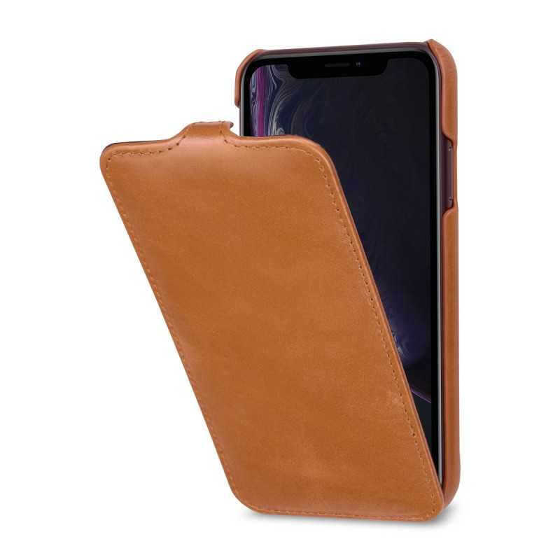 Etui iPhone Xr UltraSlim en cuir véritable cognac - StilGut